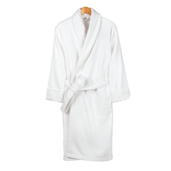 Achat en ligne Peignoir mixte taille L en coton jacquard blanc