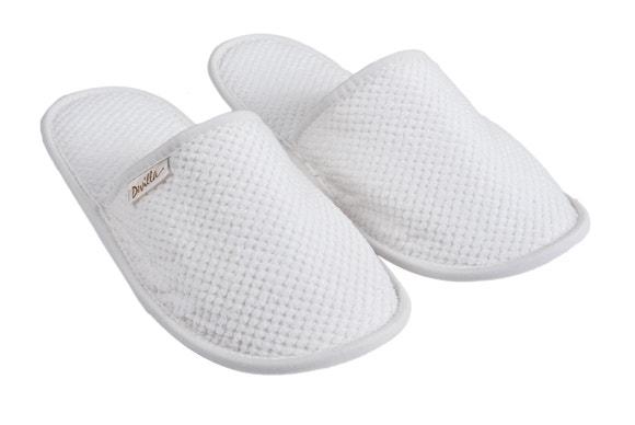 Achat en ligne Mules de sauna taille 38/40 en coton jacquard blanc