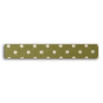 TOGA - Rouleau de tissu adhésif thermocollant vert à pois blanc - largeur 1,5cm, longueur - 5 m
