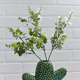 Branche artificielle d'eucalyptus ramifie gris et vert h65cm