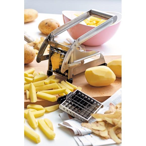 Taglia patate fritte con lame di 2 dimensioni in acciaio inox