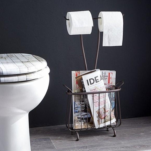 Achat en ligne Range magazine et dérouleur papier toilette bronze