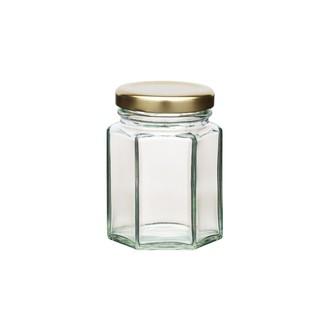 Vasetto esagonale con coperchio in vetro, 110 ml