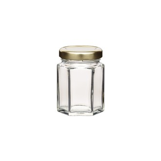 Vasetto esagonale con coperchio in vetro, 55 ml