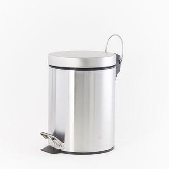 Poubelle de salle de bain 3L en métal brossé avec ouverture à pédale