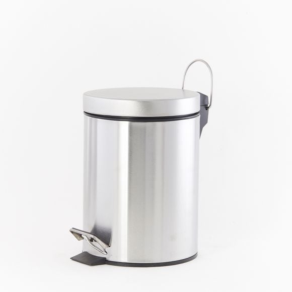 Poubelle de salle de bain 3L en métal brossé à pédale