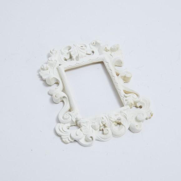 Cadre Style Baroque En Polyrésigne Blanc 15x17cm Pas Cher Zôdio