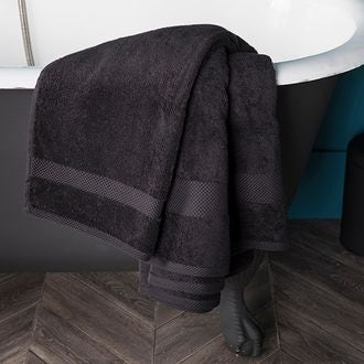 Zodio - serviette de bain en coton éponge réglisse 90x140cm