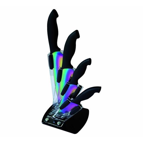 Ceppo coltelli in plexiglass + 4 coltelli con lama in titanio