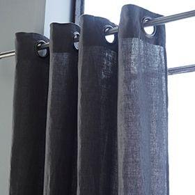 Rideau en 100% lin à œillets gris granit 140x280cm