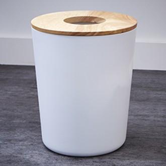 Poubelle blanche en plastique et couvercle en bois