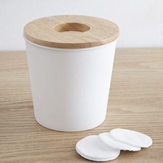 Poubelle à coton blanche avec cercle en bois