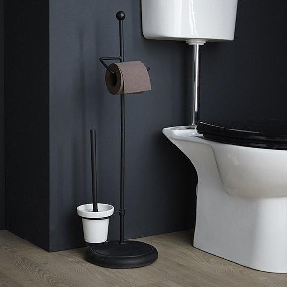 Porte papier toilette et brosse en métal chrome