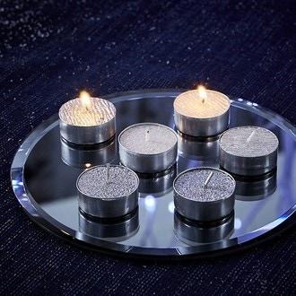 Set de 9 bougies chauffe plat blanc pailleté