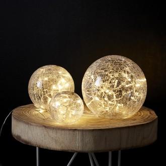 Set de 3 boules transparentes en verre 60 led blanc chaud d20cm-15cm-10cm