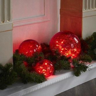 Set de 3 boules ambrées en verre 60 led blanc chaud Ø20cm Ø15cm Ø10cm