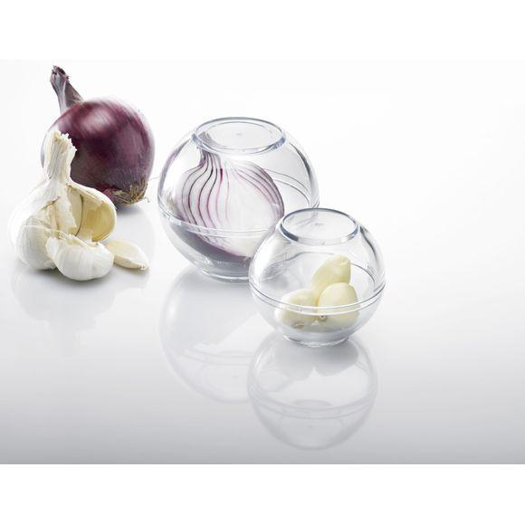 compra en línea Set de 2 cajas de plástico redondas anti-olor para nevera
