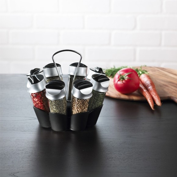 acquista online Portaspezie a carosello con 8 barattoli di spezie in alluminio
