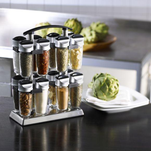 Porta spezie acciaio inossidabile 16 barattoli di spezie in vetro