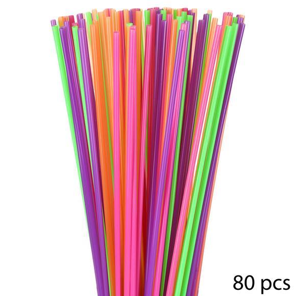 Lot de 80 pailles multicolores Jumbo 75cm