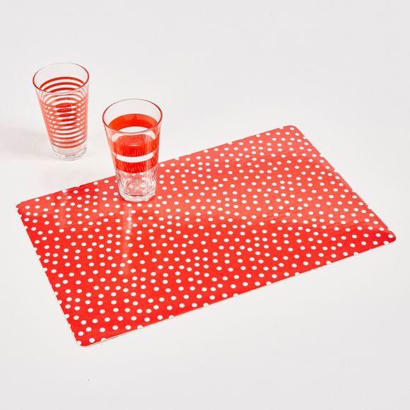Set table mini pois rouge et blanc