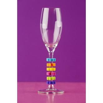Lot de 6 marques-verres en forme de fleurs colorées