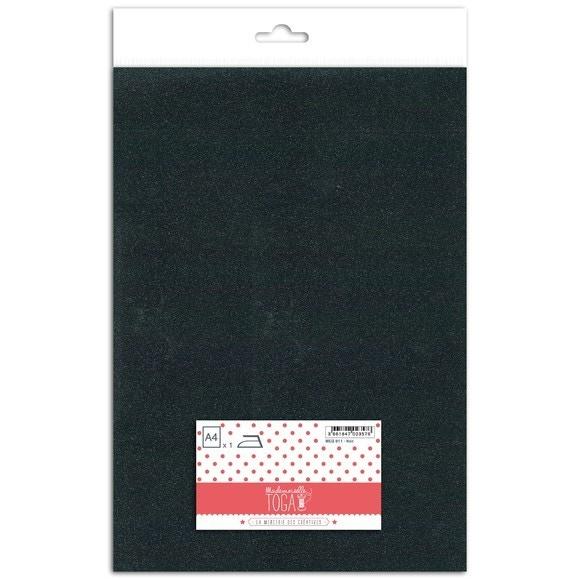 Feuille thermocollante pailletée noir format A4