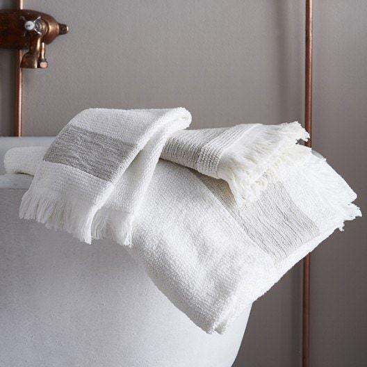 Gant de toilette en coton ciselé liteau couleur lin