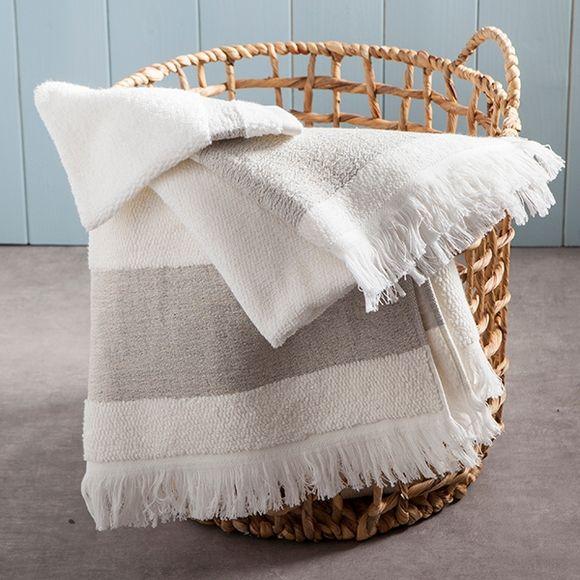 Asciugamano ospite a frange in cotone bianco e beige