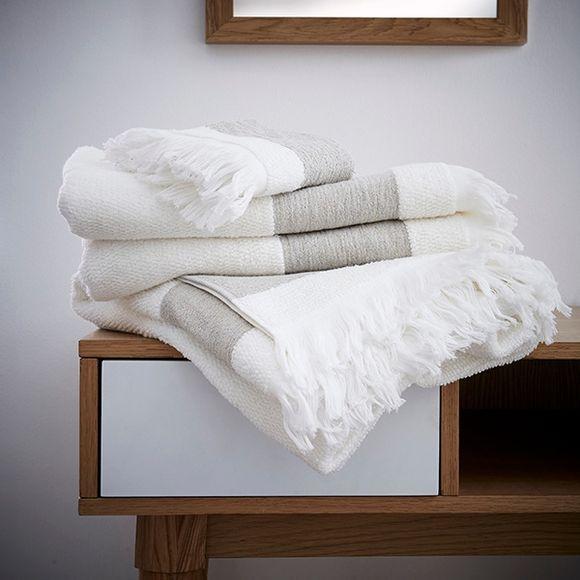 Serviette de toilette 55x100cm en coton ciselé liteau couleur lin