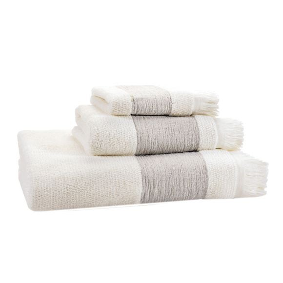 Serviette de bain 90x150cm en coton ciselé liteau couleur lin
