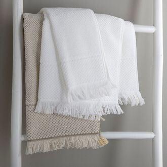 Drap de bain à frange blanc jacquard 100x150cm