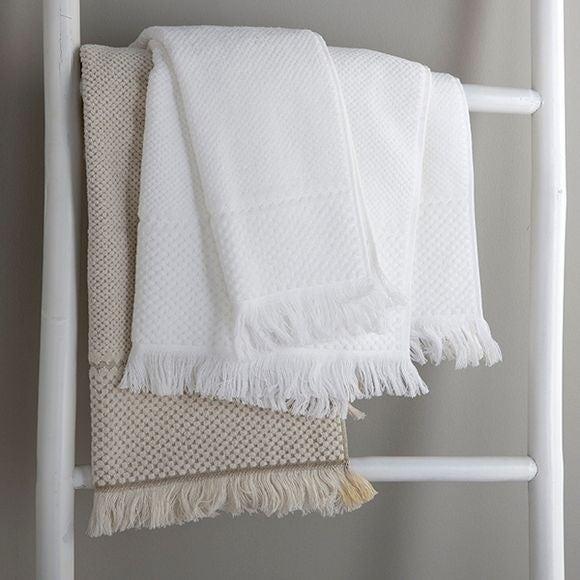acquista online Asciugamano da bagno a frange jacquard bianco 100x150cm
