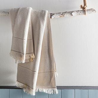 Drap de bain à frange beige jacquard 100x150cm