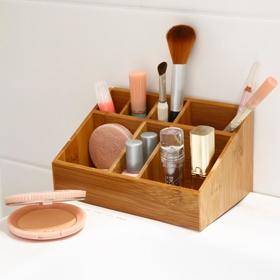 Rangement pour maquillage en bambou 7 compartiments
