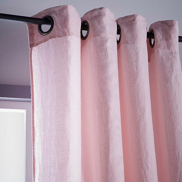 rideau viti 100 lin illets rose poudr 140x280 pas. Black Bedroom Furniture Sets. Home Design Ideas