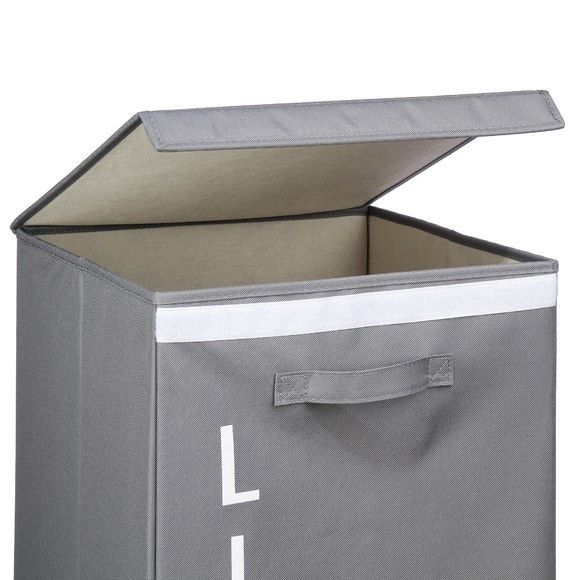 Panier à linge pliable en tissu gris 70 l