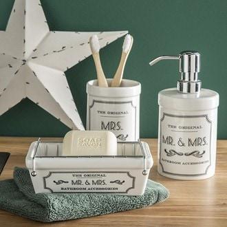 Distributeur de savon en céramique blanche mr&mrs