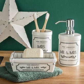Porte-savon en céramique blanc à motif mr&mrs