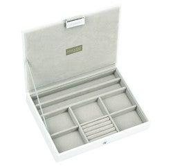 compra en línea Joyero con funda de terciopelo blanco (25 x 18 x 4 cm)