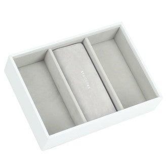 Boite à bijoux à 3 compartiments en velours blanche