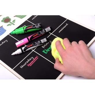 Set de 4 marqueurs craie à pointe moyenne blanc, rouge, bleu, vert en pochette 2,5 mm