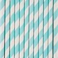 Set de 25 pailles à rayures bleues clair