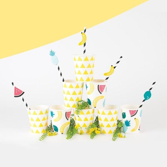 Set de 25 pailles à rayures jaunes