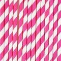 Set de 25 pailles à rayures rose fonce
