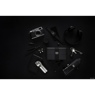 Boite hermétique 2 compartiments noir Bento 1L