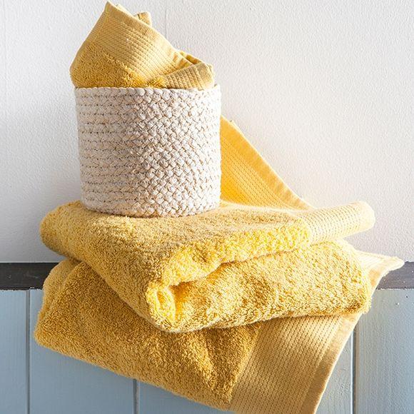 Serviette invité 30x50cm en coton éponge bio jaune