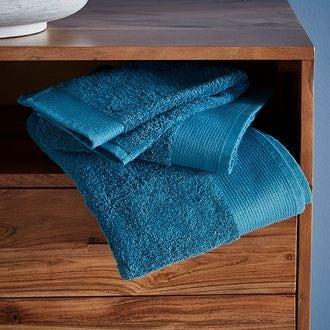 Serviette de douche bio en coton éponge bleu tempête 70x140
