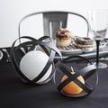 Support bougie boule noir métal 12,5cm