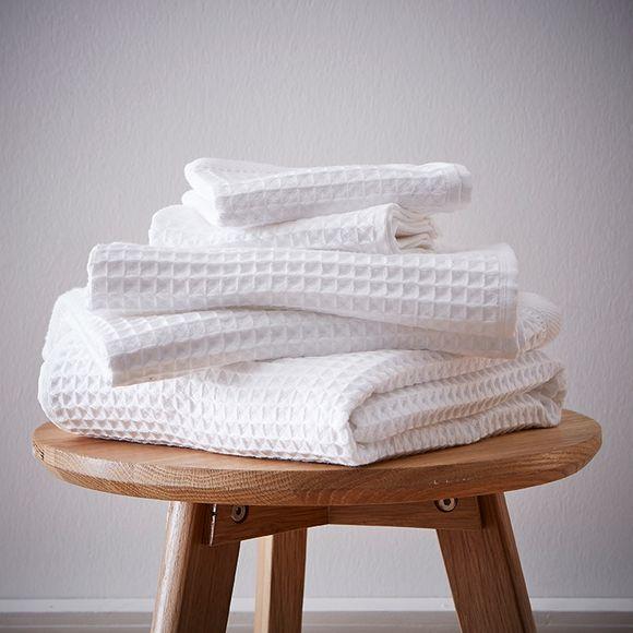 Asciugamano ospite a nido d'ape in cotone bianco 50x100cm